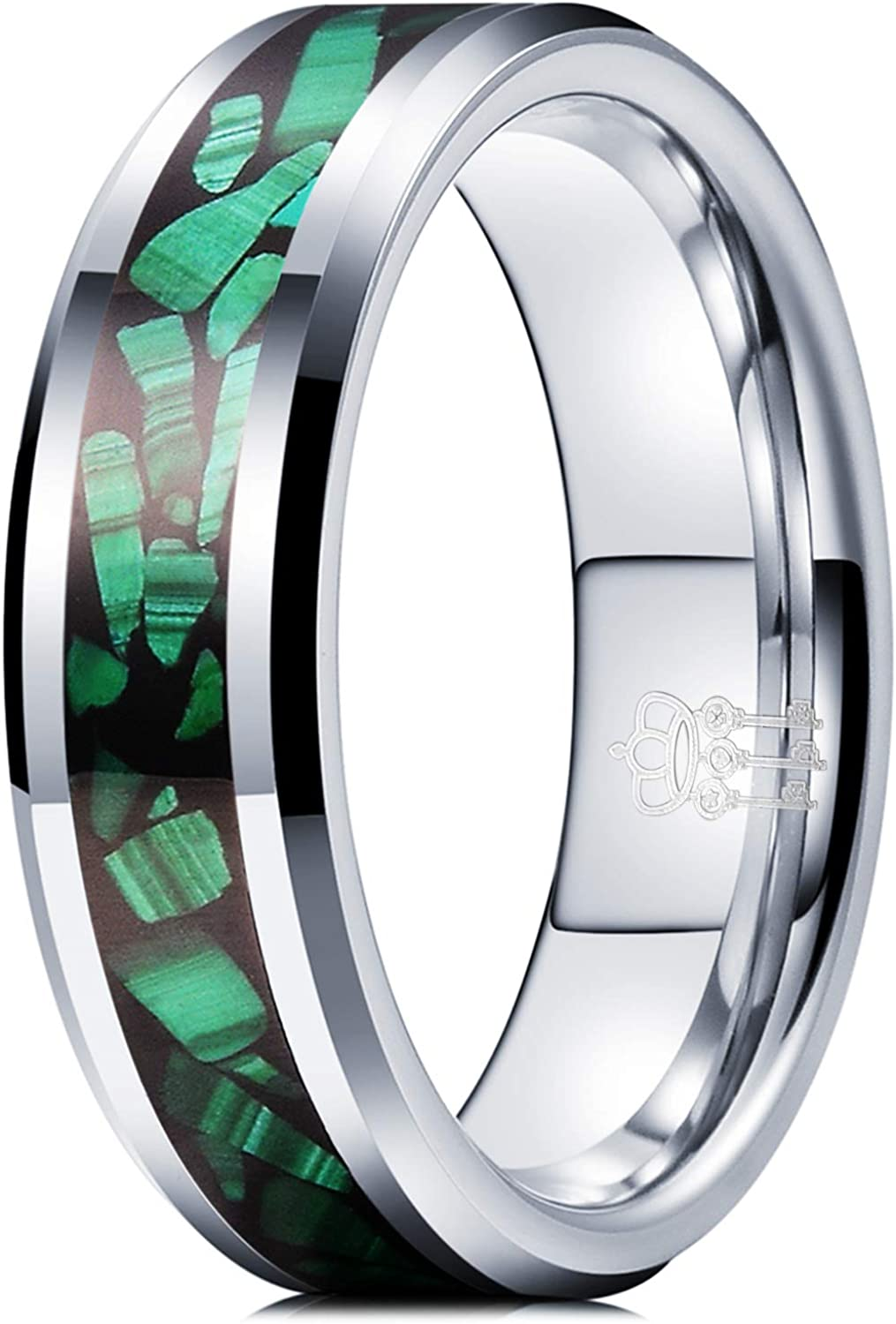 THREE KEYS JEWELRY 6mm 8mm Silver Tungsten Rings Green Malachite Precious Inlay Bands for Women Men