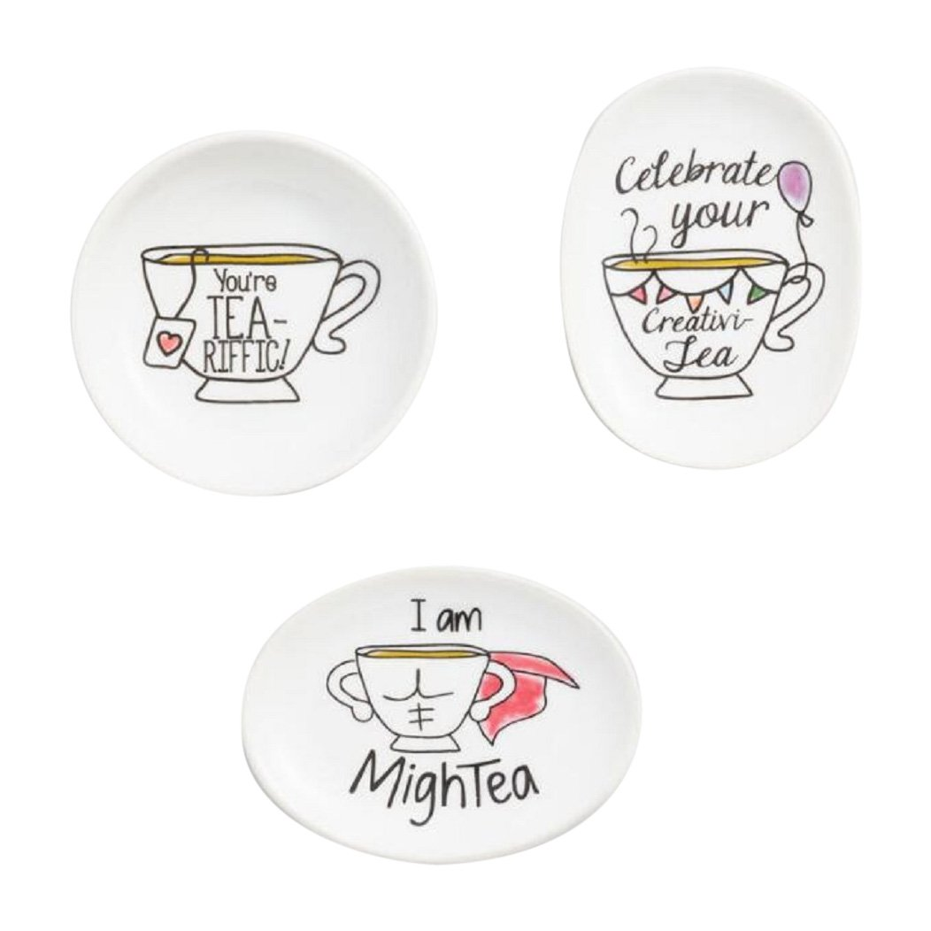 Sentimental Pun Sayings Tea Bag Rest Holder Set of 3 WM