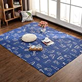 GIY Living Room Area Rug Soft Rectangular Travel Carpets Children Crawling Bedroom Rug Non-slip Washable Mats Home Decor Outdoor Indoor Runners Navy Blue 3' X 5'