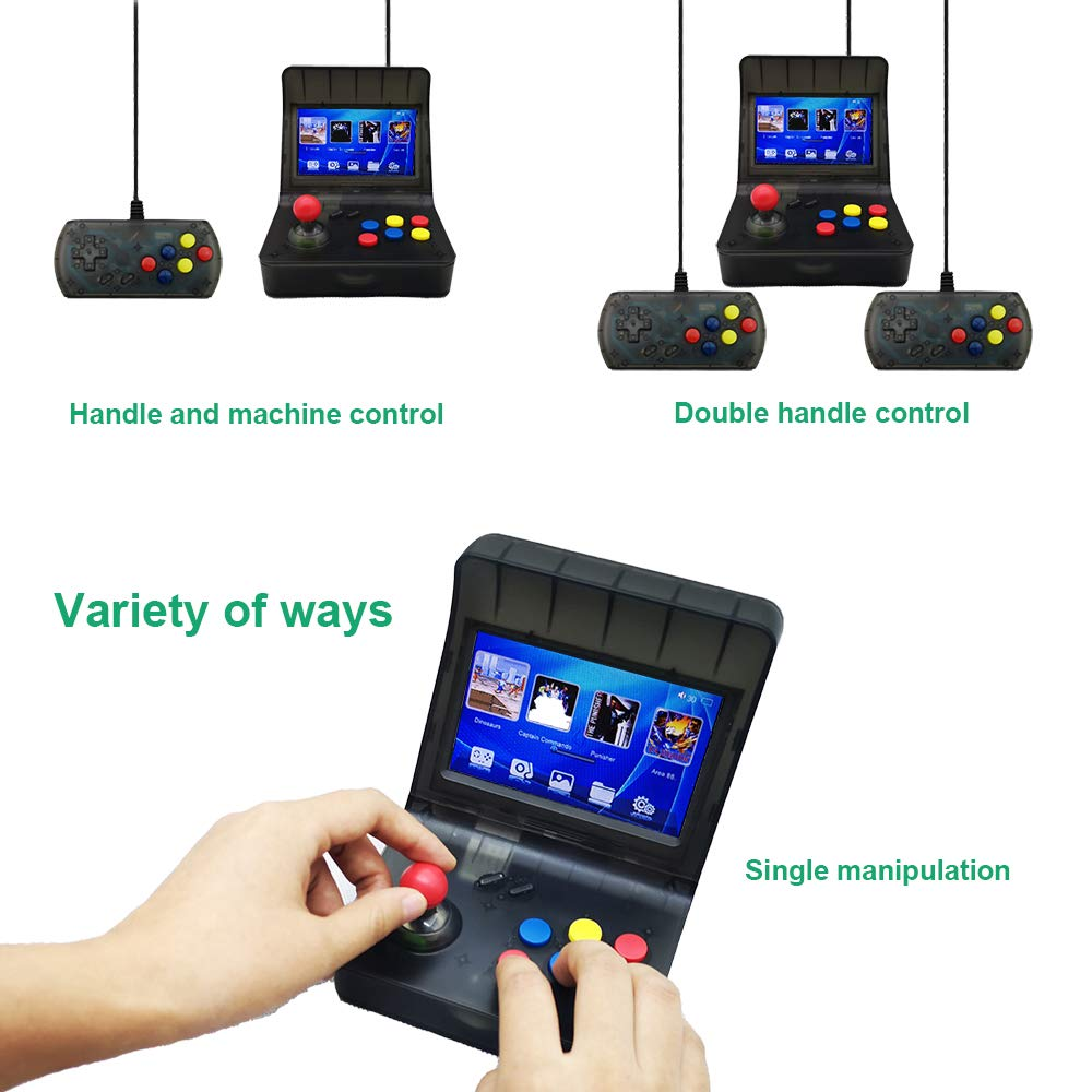 MJKJ Retro Game Console , Handheld Game Console 4.3 Inch 3000 Classic Game Player , TV Output Portable Video Game Console with 2PCS Joystick - Transparent Black by MJKJ (Image #5)