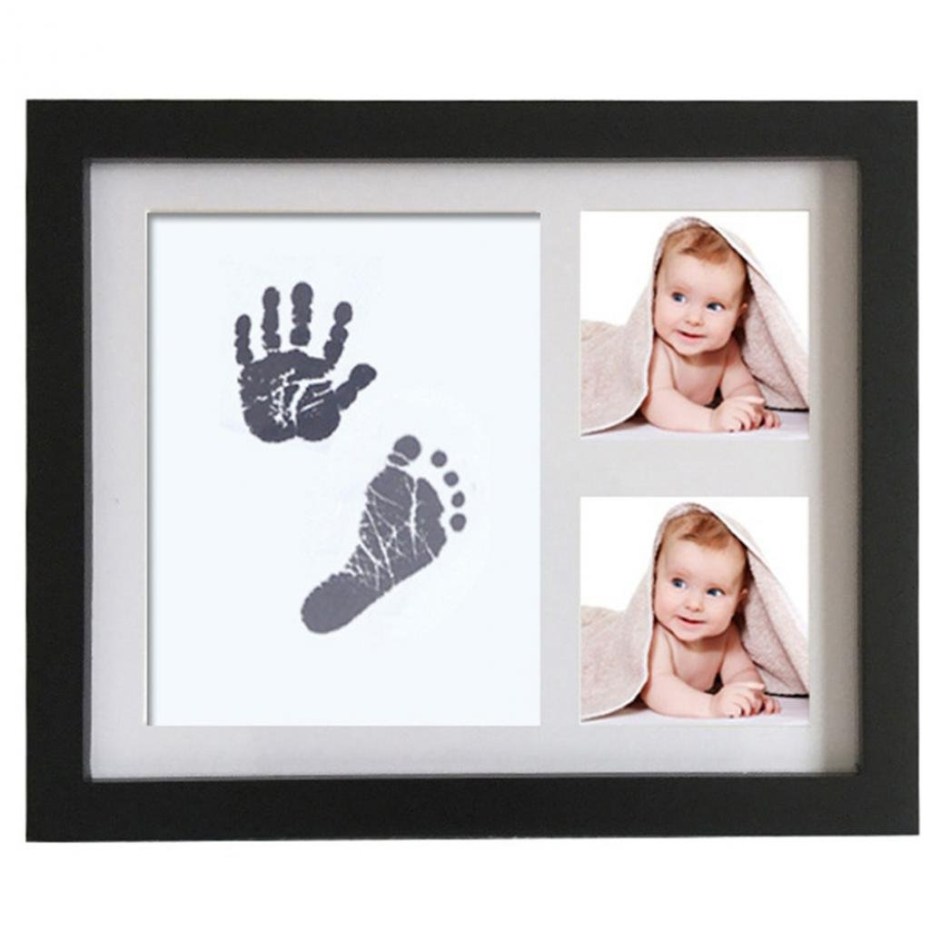 Little Rock Newborn Baby Handprint Footprint Non-Toxic Ink Pad Wood Photo Frame Memento