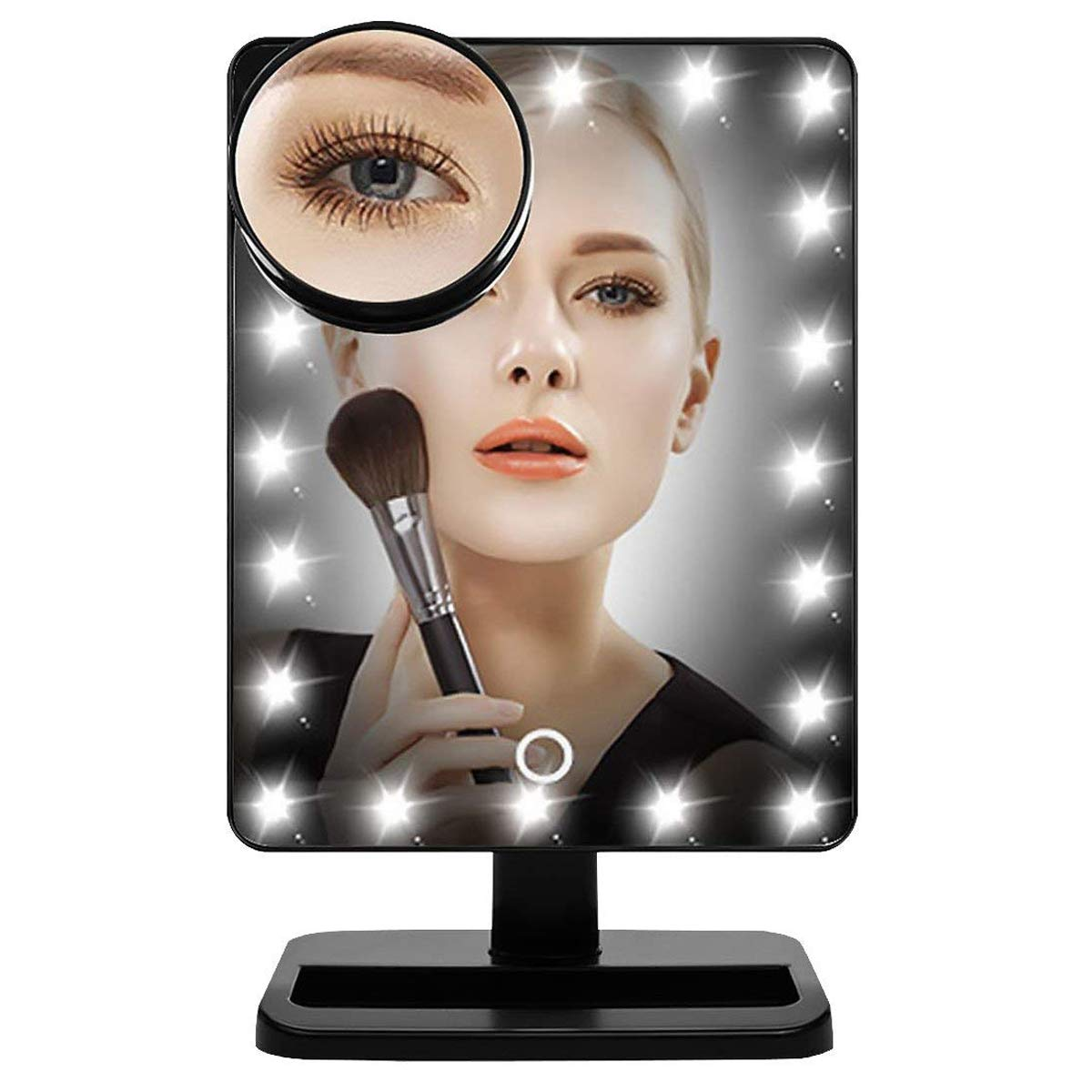 AUTOPDR Llighted makeup mirror/Vanity mirror with LED touch screen Dimming,Portable convenience and Detachable Magnifying nature light LED…