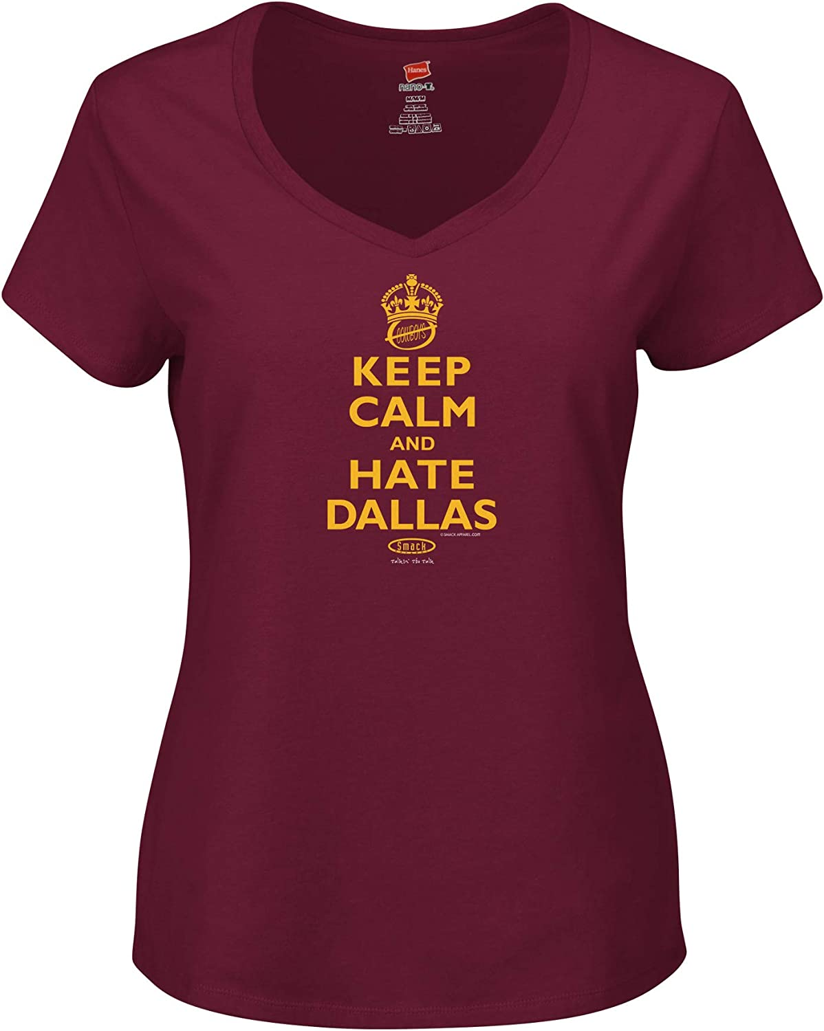 Keep Calm and Hate Dallas Sm-3X Maroon Ladies T-Shirt Smack Apparel Washington Football Fans