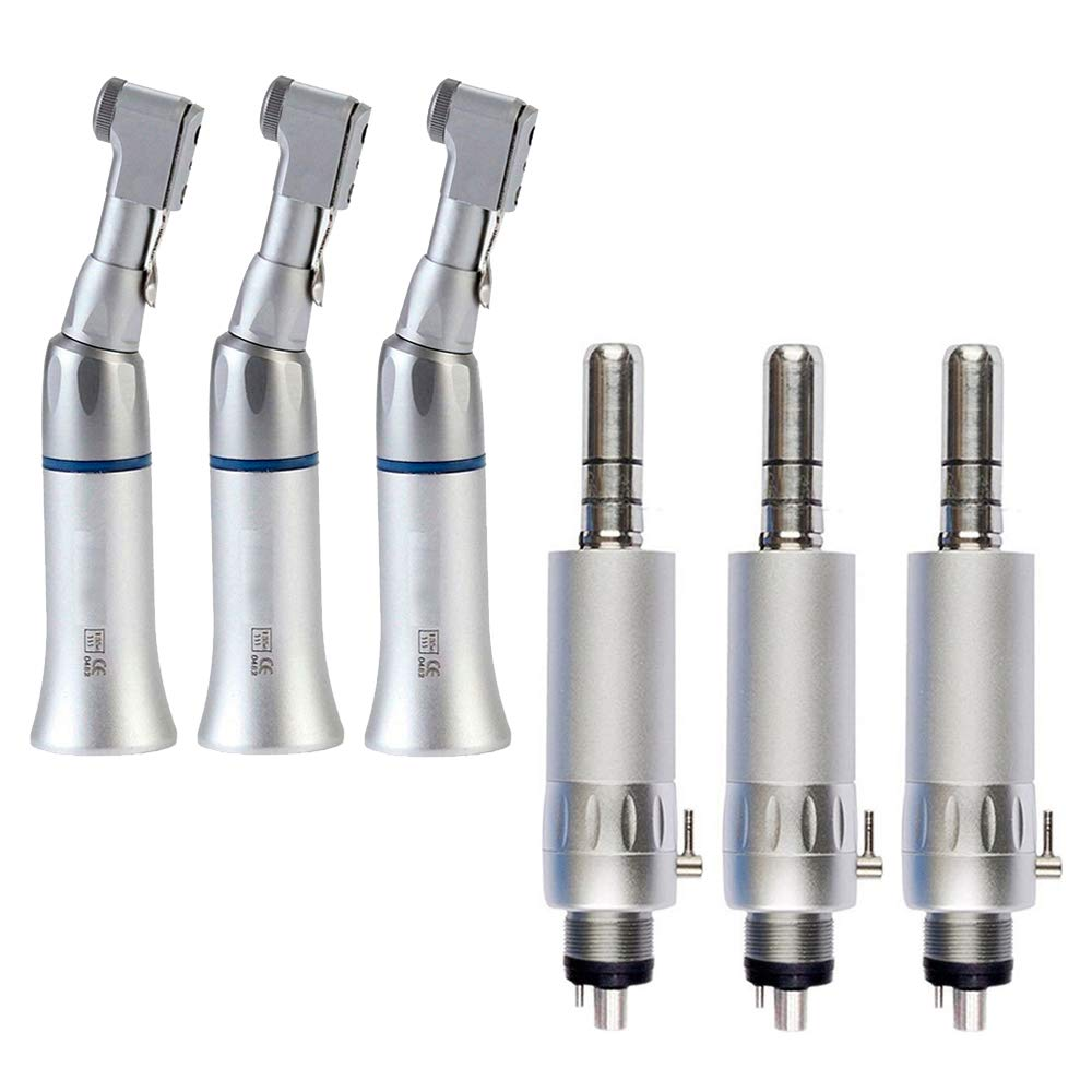 Dental Low Speed Hand Kits Lab E-type Air Motor Contra-angle 4Holes(Pack of 3) by Denity