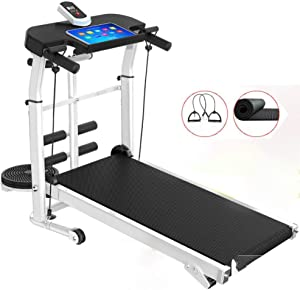 4 in 1 Multi-Function Cardio Fitness Exercise Incline Home Running Machine, Portable Folding Mechanical Treadmill,Adjustable Armrest,3 Files Adjustable Height,150KG Weight Capacity MZXDX