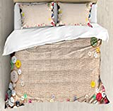 Ambesonne Vintage Duvet Cover Set King Size, Buttons Collection Fabric Texture Canvas Frame Sewing Needlecraft Contemporary Picture, Decorative 3 Piece Bedding Set with 2 Pillow Shams, Light Brown