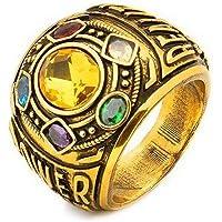 HUANSI Anillo Infinito de Piedras Golden Gauntlet Metal Infinity War Soul Piedra Anillo Cosplay Traje Prop