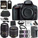 Nikon D5300 DSLR Camera with AF-P 18-55mm VR Lens (Black) 1522 + Nikon AF-S DX NIKKOR 55-300mm f/4.5-5.6G ED VR Lens + Rechargable Li-Ion Battery + Charger + Sony 128GB Card + HDMI + Remote Bundle