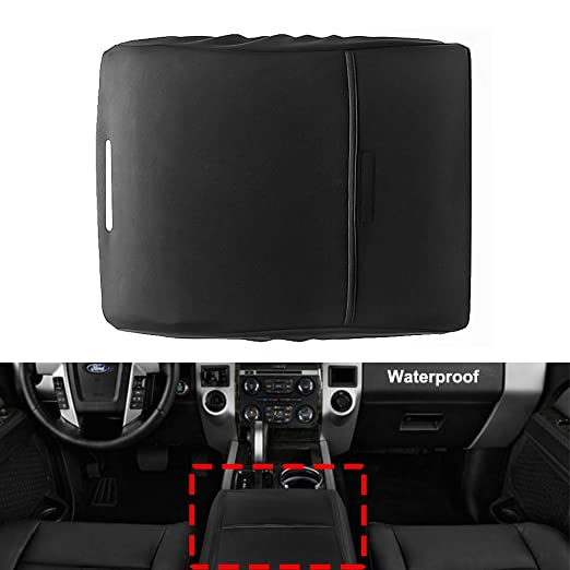 BASIKER Auto Console Waterproof Covers for Ford F-150 Raptor Truck 2002-2019 Center Console Armrest Cover Black