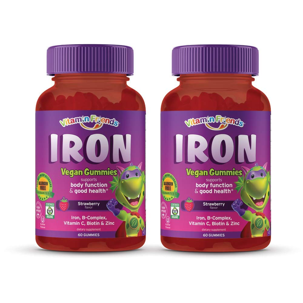 Vitamin Friends - Gummy Iron Supplements for Kids (60 Day) With B-Complex,  Vitamin C, Zinc, Biotin -