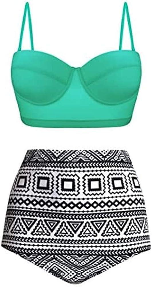Mujer Retro Polka Punto Cintura Alta Traje de baño Bikini Dividido Halter Dos Piezas bañadores Bikini Set