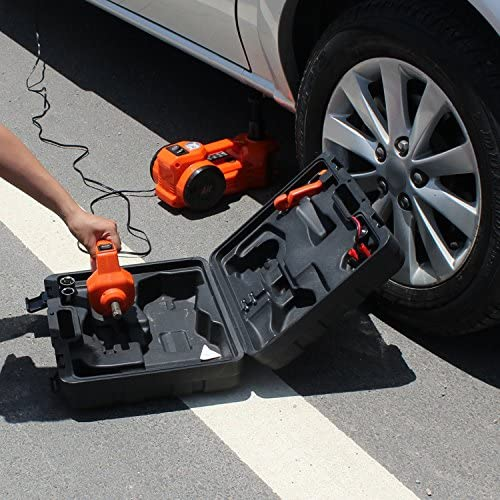 Buy 12V DC 1 Ton Electric Hydraulic Floor Jack Set with Impact Wrench For Car Use (6.1-17.1 inch, Orange)
