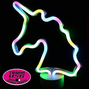 XIYUNTE Unicorn Neon Light Sign Led Unicorn Light with Detachable Holder Base, USB or Battery Operation Unicorn Lamp Night Light Unicorn Neon Signs Room Decor for Kids Room,Bar,Party,Wedding,Christmas