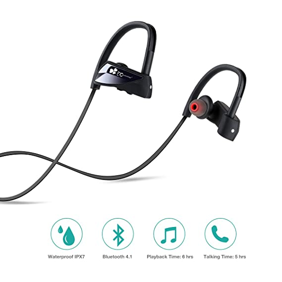 Auriculares Bluetooth,Auricular V4.1 Deportivos Inalámbricos y Resistentes al Agua IPX7 con 6 Horas de Reproducción y Eliminación del Ruido Exterior, ...