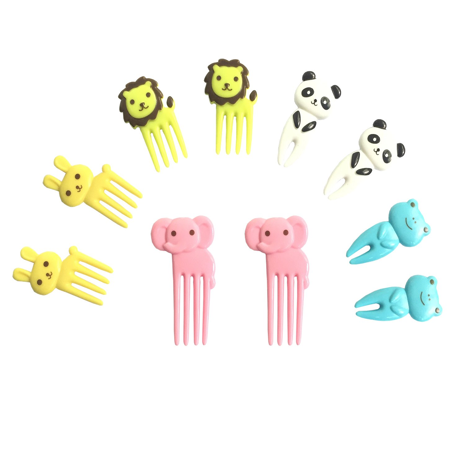 Arbor Home Fruit Picks Food Forks 3D Cartoon Party Cake Toothpick Lovely Animal Farm Bento Decoration Lunch Box Set of 10PCS About 1.3inches (A)