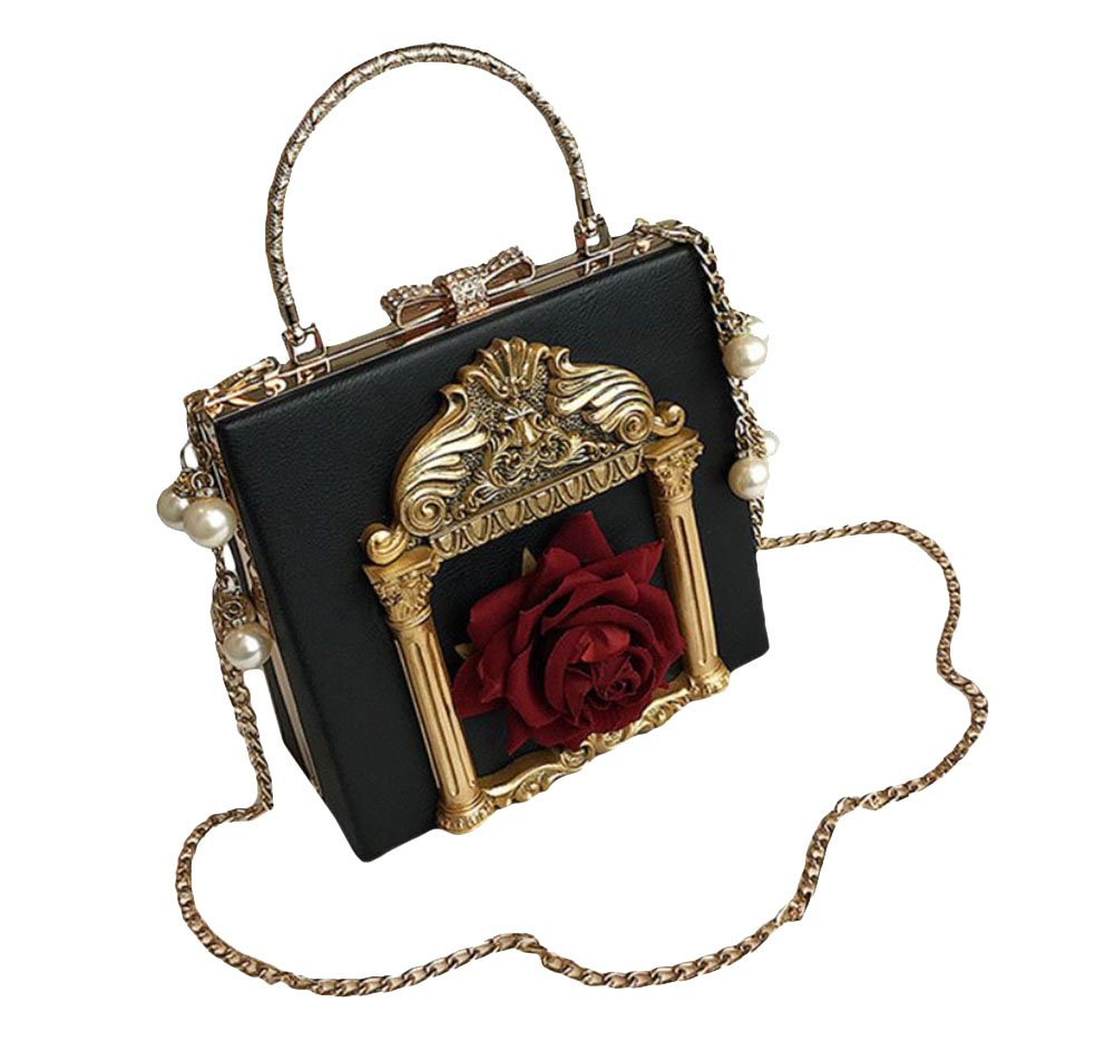 Nite closet Victorian Handbag Gothic Purses Lolita Shoulder Bag for Women Vintage Clutch (Black)