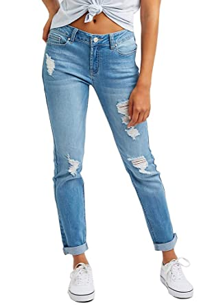 6056c61d29d Image Unavailable. Image not available for. Color  Ermonn Women Distressed  Denim Jeans ...
