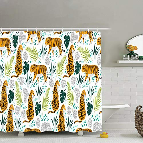 Shower curtain liner,18x18 seamless pattern cartoon tigers tropical leaves animals wildlife african Animals Wildlife backgrounds textures african Backgrounds Textures ,Waterproof,Polyester 72x72