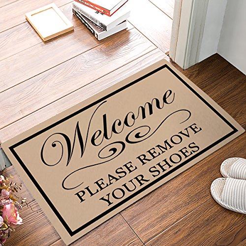 MUSEDAY Retro Entryway Door Rug 20 x 31.5 inch Floor Mat Welcome Please Take Off Your Shoes Doormat Indoor/Outdoor Door Shoe Scraper Rubber Entrance Mat for Home -