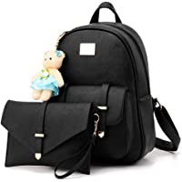 Redlicchi Girls 2-PCS Fashion Backpack Cute Mini Leather Backpack Purse for Women(Blac)
