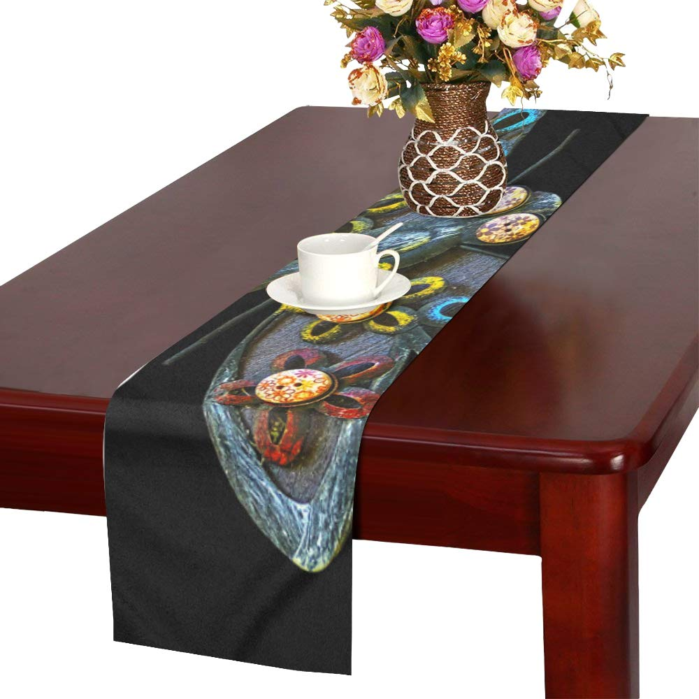 Dragonfly Art Object Wall Decoration Metal Wood Table Runner, Kitchen Dining Table Runner 16 X 72 Inch For Dinner Parties, Events, Decor