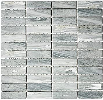 Mosaik Fliese Keramik Stäbchen Steinoptik grau für BODEN WAND BAD WC ...