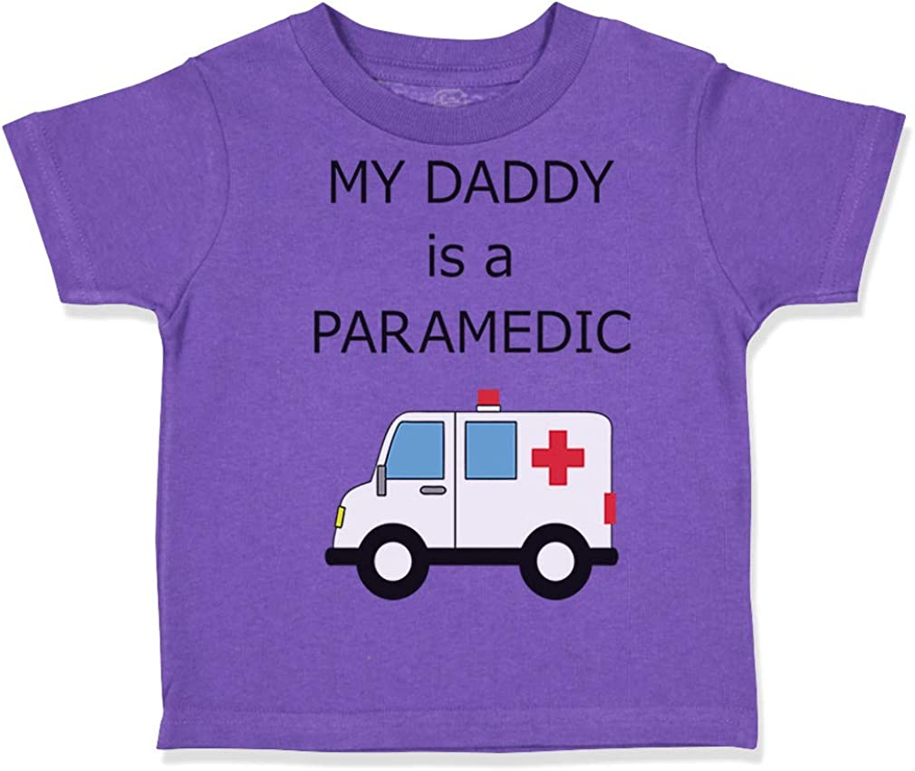 Custom Toddler T-Shirt My Daddy is A Paramedic EMT Dad Fathers Day Funny Cotton