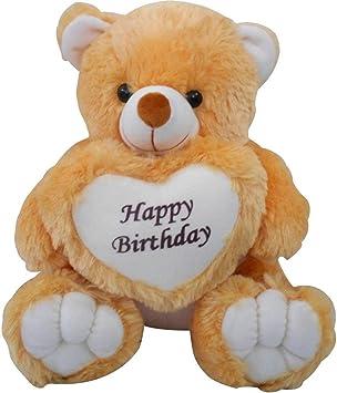 EMUTZ Happy Birthday Soft Plush Toy Teddy Bear with Heart (Brown, 2 ft)