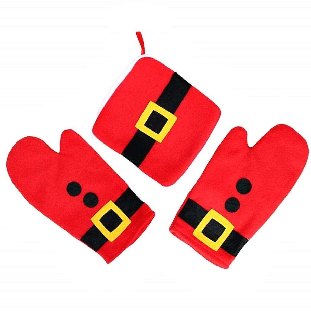 EVRYLON Porta ollas de Navidad Rojo Paquete de 2 Guantes un Porta ollas Antideslizante Idea cumplea/ños
