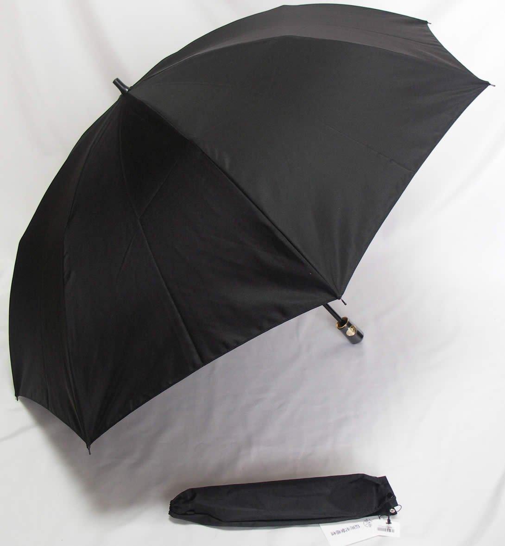 前原光栄商店 前原傘 紳士用折りたたみ シャンブレー ブラック カラーリング手元 B06XK1J2KH