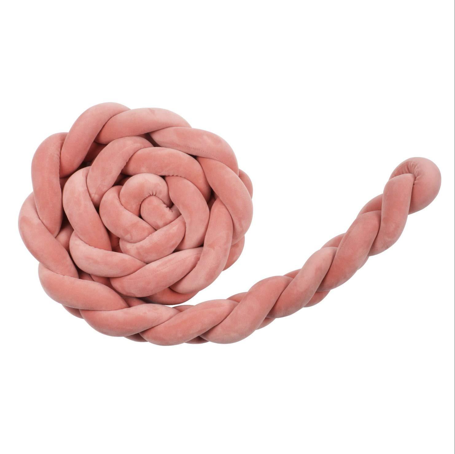 Main a tress/é le lit bumper la boule respirante de noeud de noeud respirant de lit tout le tour rembourr/é avec la maille rose gris bleu blanc pour les gar/çons filles enfants,2M