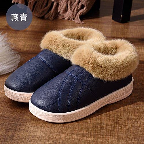 DogHaccd pantofole,Un paio di inverno home pantofole di cotone alta femmina-package con piscina coperta e scoperta anti-slittamento peluche spessa caldo cotone scarpe maschili,Blu scuro45-46