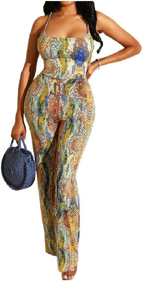 HEFASDM Women Straight High Rise OL Digital Print Sling Romper Playsuit Jumpsuit