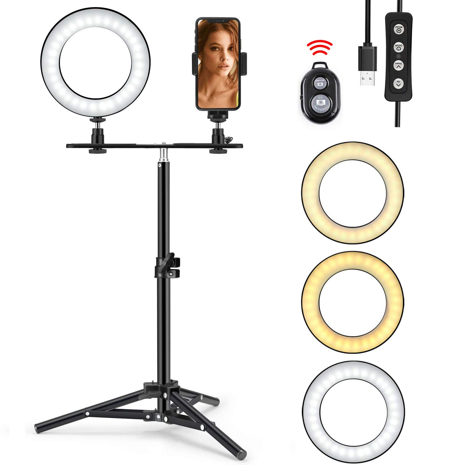 Ring Light with Stand, Foxin Selfie Ring Light with Tripod Stand & Cell Phone Holder Stand for Live Stream/Makeup, Mini LED Camera Light Desktop LED Lamp with 3 Light Modes & 11 Brightness Level by FOXIN (Image #1)