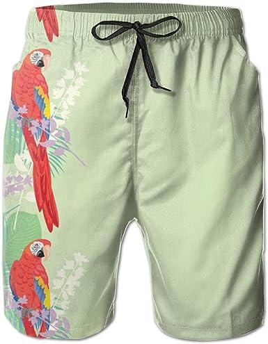 Pink Flamingo Bird Cute Pattern Mens Beach Board Shorts Printing Beachwear