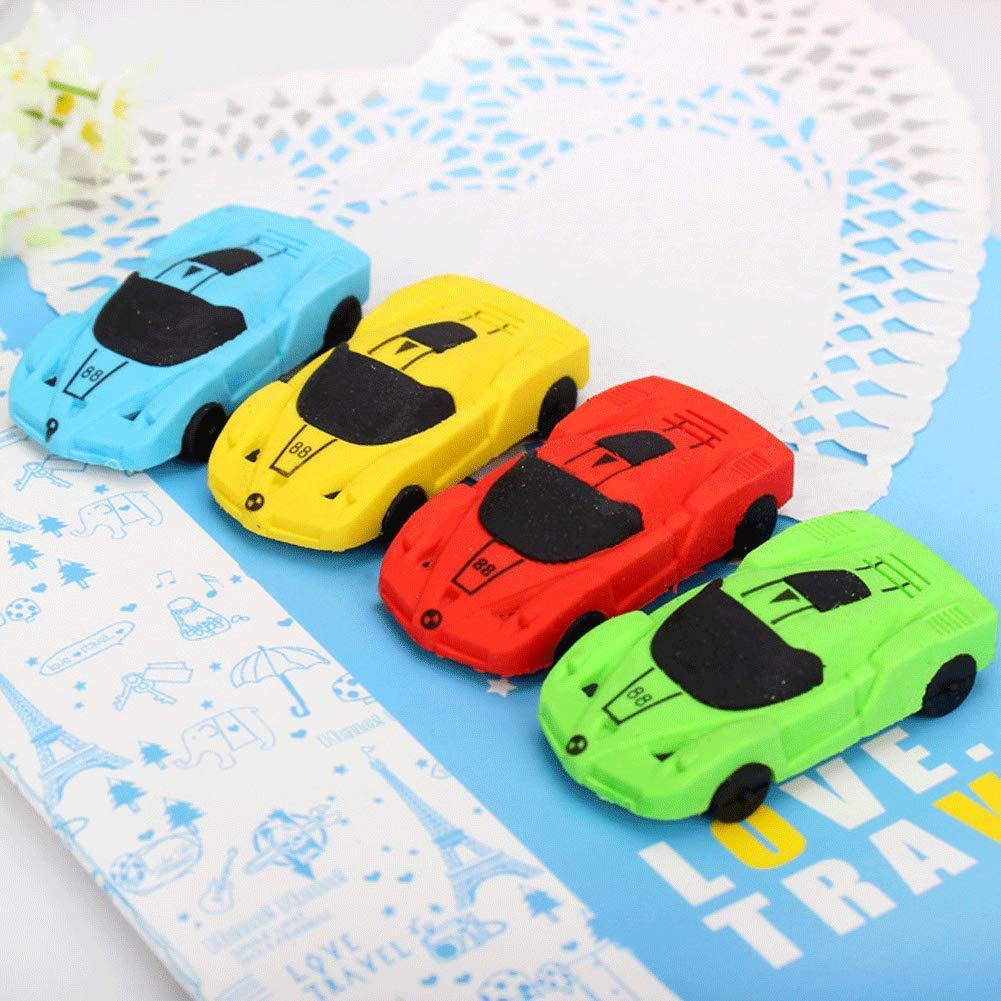 Random Color Car Eraser 24 PCS Pencil Eraser Pocket Toy Party Favors Kids School Office Stationary