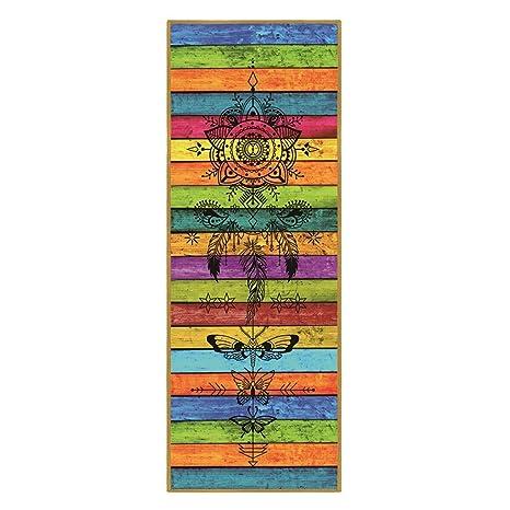 Amazon.com : Yeefant Color Stripe Printed Yoga Mat, Portable ...