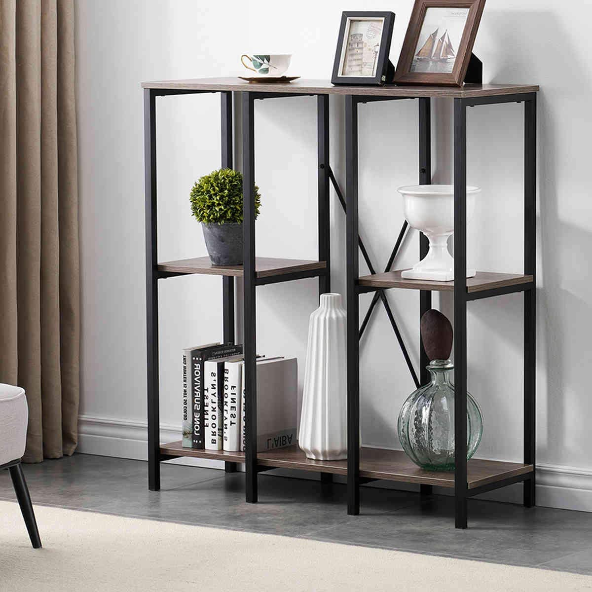 SHOCOKO 3 Tier Rustic Bookshelf, Vintage Industrial Style Bookcase, Open Storage Display Shelves Organizer with Wood and Metal Frame for Furniture Home Office, Gray Oak