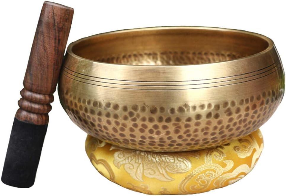 シンギングボウル ネパール手作りのサウンドボウル銅ヨガ瞑想儀式音源ボウルセットを歌うマレットチベットでボウルを歌います 瞑想 癒し 倍音 (Color : Brass, Size : 13cm)