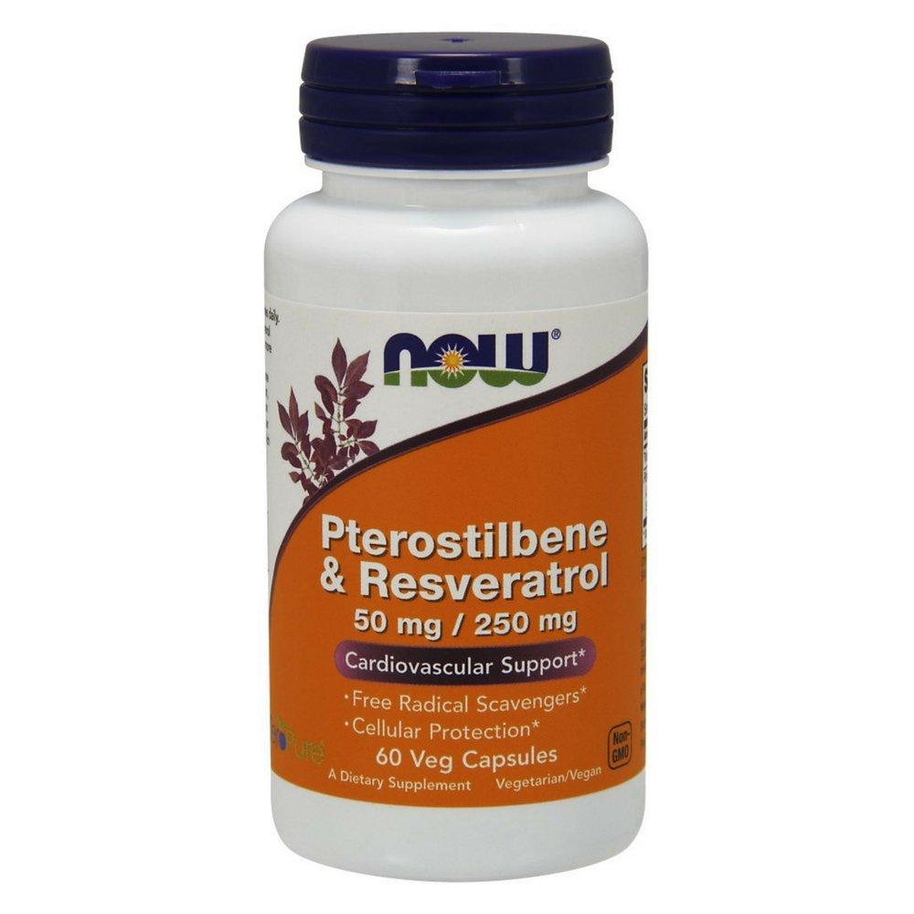 NOW Pterostilbene & Resveratrol 50 mg/250 mg,60 Veg Capsules