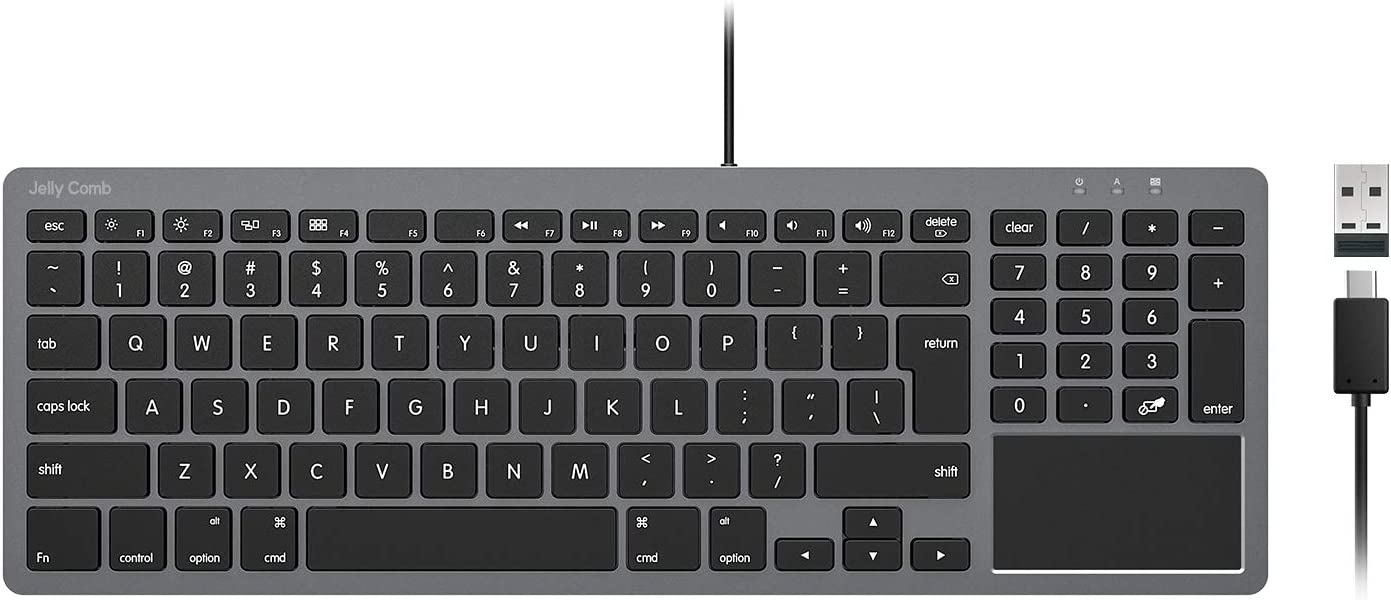 Wired Keyboard for Mac OS, Jelly Comb 2-in-1 (USB+Type C) Wired Keyboard with Touchpad Ultra Slim Compact USB Keyboard with Numeric Keypad for Mac OS/iPad Pro/iPad 2020-Black and Grey K068
