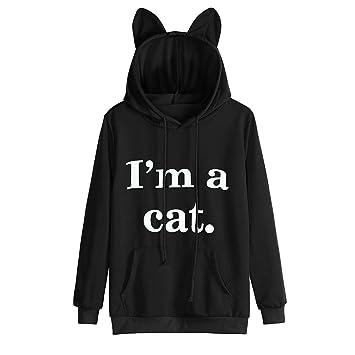 LILICAT Mujeres Sudaderas con Capucha de Gato, Blusa Camiseta 2017 Chic Soy un Gato Carta Impresa de Manga Larga con Bolsillo (L, Negro): Amazon.es: Hogar