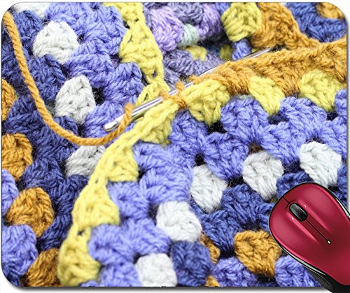 Crochet Patterns Free Afghan (Liili Mousepad IMAGE ID 32461766 Crocheting crochet hook making an afghan blanket in shades of blues and browns a vintage craft)