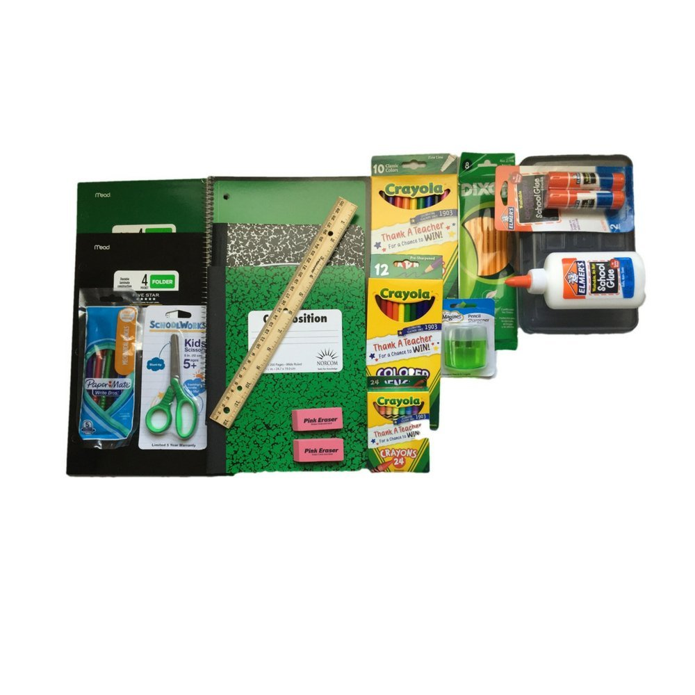 Back to School Supplies Bundle Includes Crayola Markers/Colored Pencils/Crayons, Elmers Glue/Glue Stick, Composition Books Wide Ruled, Notebook Paper Wide Ruled, Five Star Folders and more.