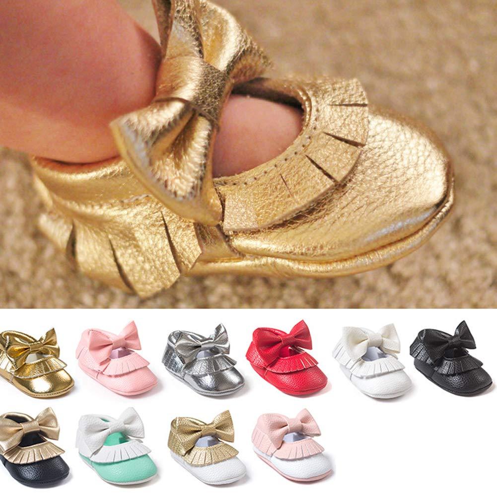 Alamana Bowknot Tassel Infant Baby Girls Soft Sole Anti-Slip Prewalker Toddler Shoes Pink 11cm