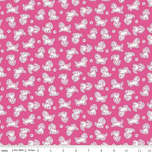 Strawberry Biscuit by Elea Lutz from Penny Rose Fabrics 100% Cotton Quilt Fabric C5104 Hot Pink Poodle -