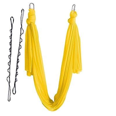 Alger Anti-gravité Yoga Volant Hamac Swing Aérienne Hamac de Yoga Largeur 2.8 m Pas de couture avec accessoires Corde de chrysanthème verrouillé, 500 * 280cm , yellow