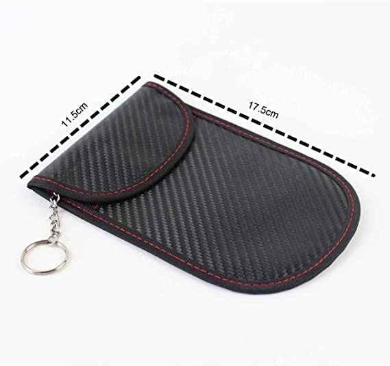RFID Carbon Fibre Pouch Car 17.5 x 11.5 cm Credit Cards Holder with Keyring Faraday Cage Blocker Protector for Key Fobs PU Leather Storage Bag for Blocking Signal Amplifier Phone Boosters