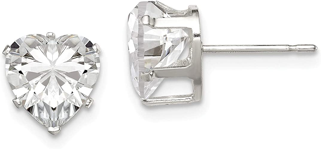 925 Sterling Silver 8mm Round Snap Set CZ Stud Earrings