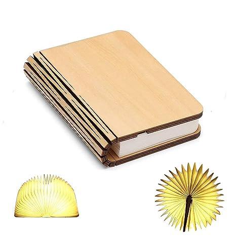Lš¢mpara de libro de madera, mini libro plegable de luz ...